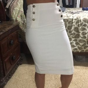 White pencil skirt with gold buttons